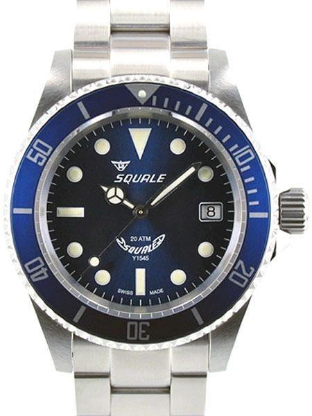 Squale 200 meter Blueray Swiss Automatic Dive watch with Domed Sapphire Crystal