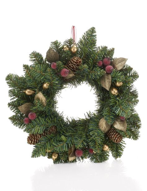Pine Cone Wreath with Gold Berries