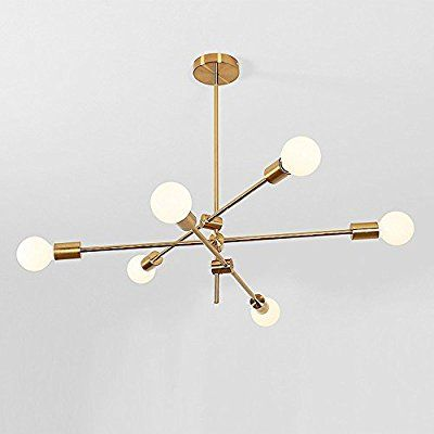 Chandelier Ceiling Pendant Lighting Fixture Hanging Lamp Flush Mount With 6 Lights Gold Finish Metal Ceiling Lighting Modern Chandelier Pendant Light Fixtures