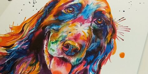 Artist Shaunna Russell paints beautiful, custom watercolor pet portraits with a twist: she uses a bright, rainbow color pallette instead of the pets' natural.