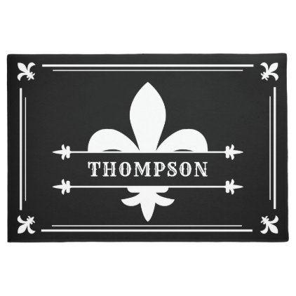 Elegant Black White Fleur De Lis Custom Name Doormat Zazzle Com Personalized Door Mats Door Mat Fleur De Lis Fleur de lis door mats