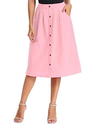 kefirlily Womens A-Line Skirt Button Front Elastic Waist Knie Length Midi Skirt