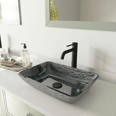 Advertisement Vigo Vgt1452 Titanium 13 Vessel Bathroom Sink Black In 2020 Rectangular Sink Bathroom Sink Glass Vessel