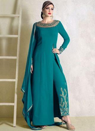 Turquoise Embroidery Work Moss Fancy Fabric Designer  Long Anarkali Suit http://www.angelnx.com/Salwar-Kameez