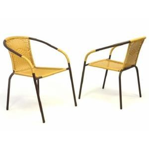 Fauteuil Jardin 2 X Chaises Bistro Poly Rotin Empilable Beige Fauteuil Jardin Chaise De Jardin Chaise