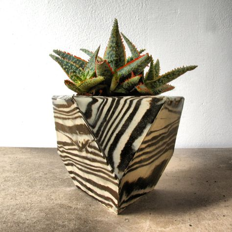 Image of Black and White Striped Planter