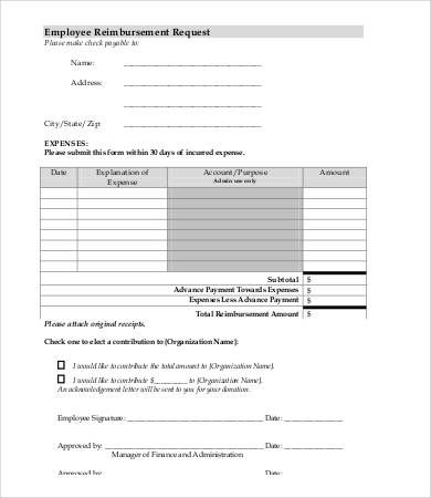 17 Expense Reimbursement Form Templates Document Templates