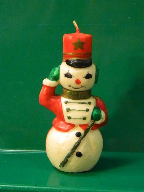 Vintage Gurley Snowman Candle Soldier