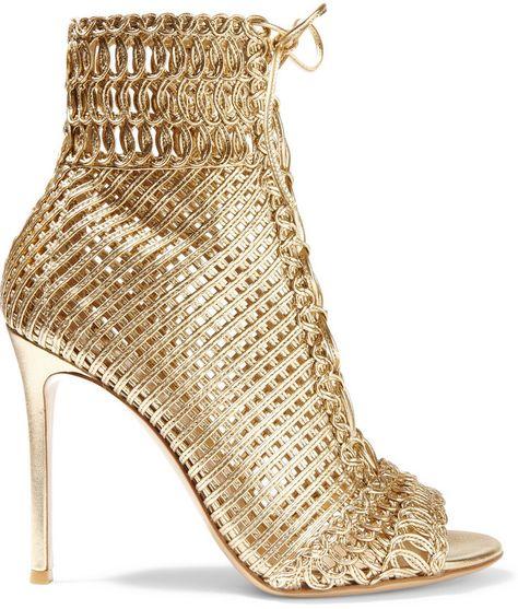 Gianvito Rossi Woven Metallic Leather Sandals