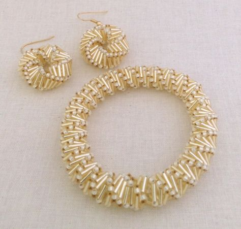 to do Russian twists Golden Helix Bracelet And Earring Beading Pattern Tutorial Beadweaving Russian Spiral Bugle Bead Pattern Seed Beads Goldene Helix Armband und Ohrring Perlen Muster von SweetBeadsLV
