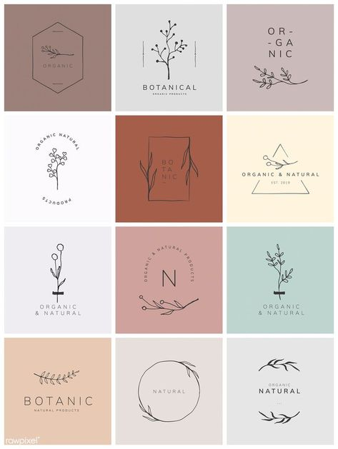 Organic product brand logo vector collection premium image by rawpixel com - Logo Floral, Flower Logo, Logo Design Flower, Wedding Logo Design, Logo Branding, Product Branding, Branding Ideas, Bakery Branding, Bakery Logo Design