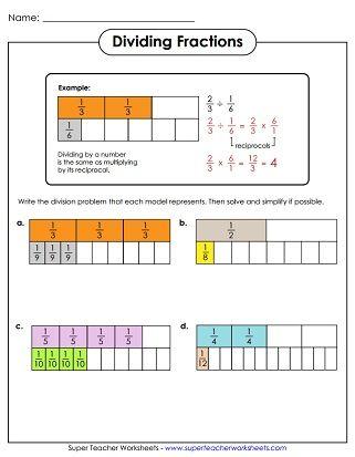 Dividing Fractions Worksheet Dividing Fractions Fractions Worksheets Dividing Fractions Worksheets Division on number line worksheets