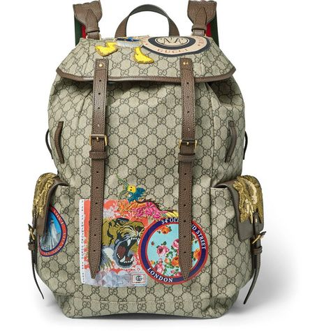 c724be2558ce Gucci Leather-Trimmed Appliquéd Monogrammed Coated-Canvas Backpack ...