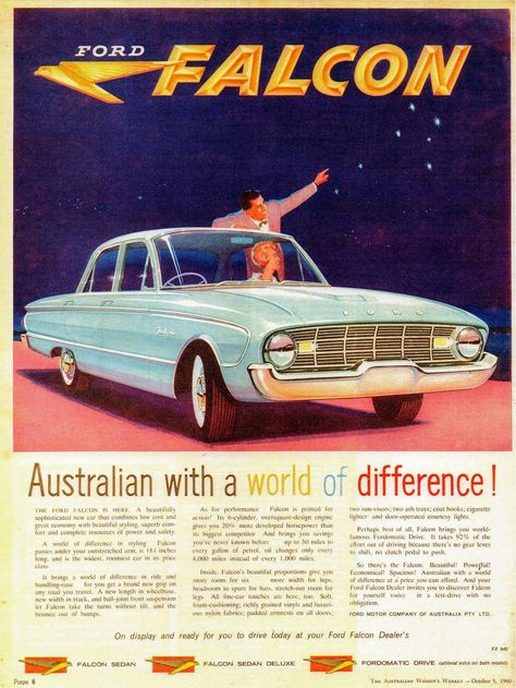 Australian Ford Falcon ad in the Australian Women's Weekly magazine, October 5, 1960