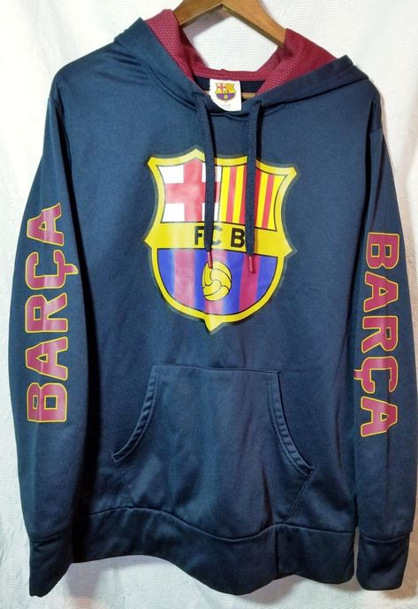 40a5e8496a3 FC Barcelona Hoodie Blue Adult Large | Awesome Attic | Barcelona ...