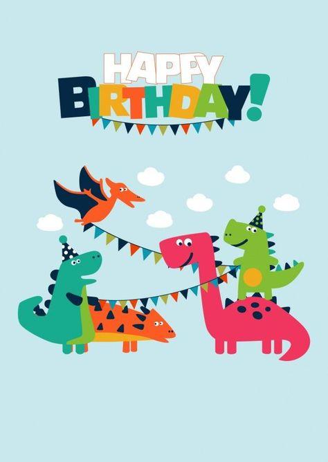 Happy Dino Birthday   Happy Birthday   Echte Postkarten online versenden…