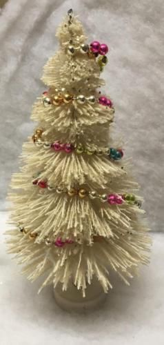Vintage White Bottle Brush Christmas Tree With Multi Color Mercury Glass Garland Bottle Brush Christmas Trees Colorful Christmas Tree Mercury Glass Ornaments