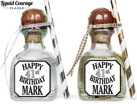 Custom Patron Mini Bottle Labels Personalized Birthday Favors Adult Guys Mens 21 30 40 50 Party Celebration Tequila Gifts PM 1020