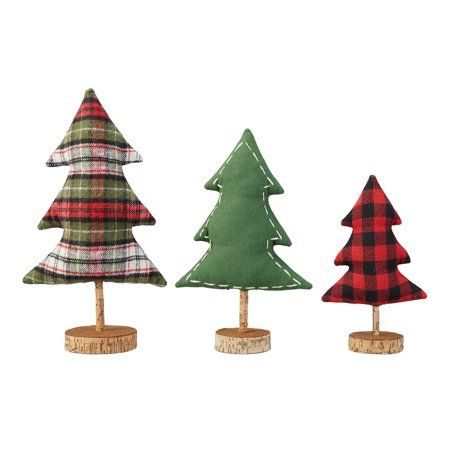 Holiday Time Fabric Table Top Tree Christmas Decorations Set Of 3 Walmart Com Fabric Christmas Trees Christmas Decorations Holiday Time