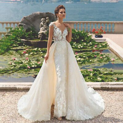 Detachable Train Lace Mermaid Wedding Dresses Long Sleeve Open Back Bridal Gowns C Convertible Wedding Dresses Wedding Dresses Detachable Train Wedding Dress