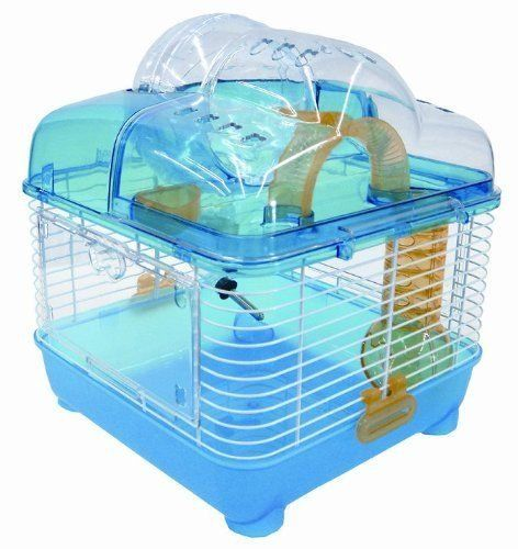 Yml Clear Plastic Dwarf Hamster Mice Cage With Ball On Top Blue Hamstercagesdepot Mouse Cage Hamster Cage Dwarf Hamster