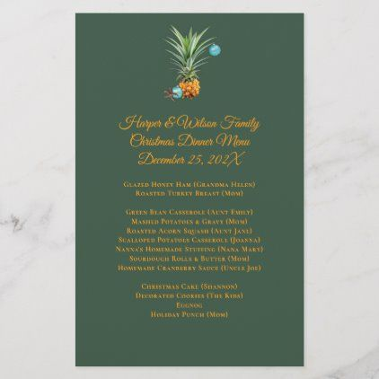 Christmas Dinner Menus 2020 Pineapples Christmas Family Dinner Party Menu | Zazzle.in 2020
