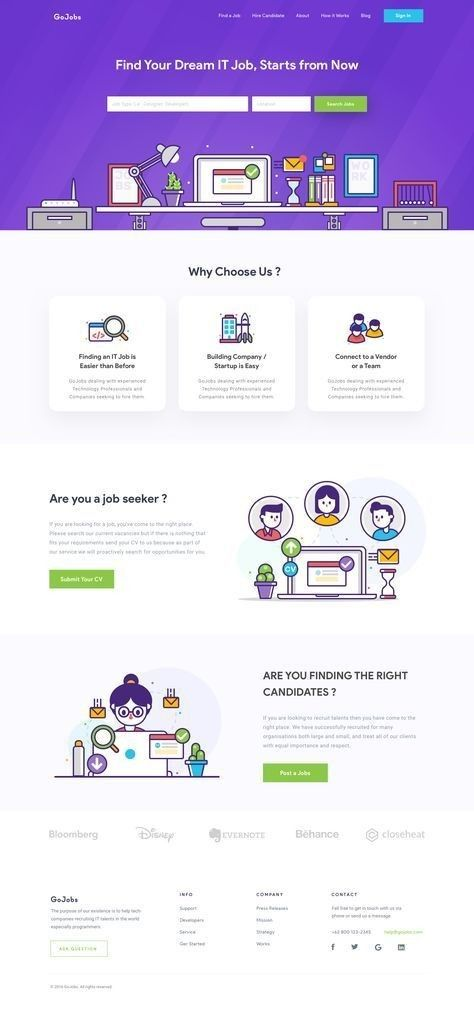 It Job Website Modern Web Design Website Html Di 2020