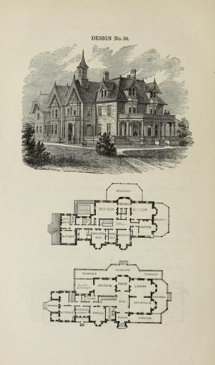 Villas And Cottages Vaux Calvert 1824 1895 Free Download Borrow And Streaming Internet Archive Mansion Floor Plan Vintage House Plans Gothic House
