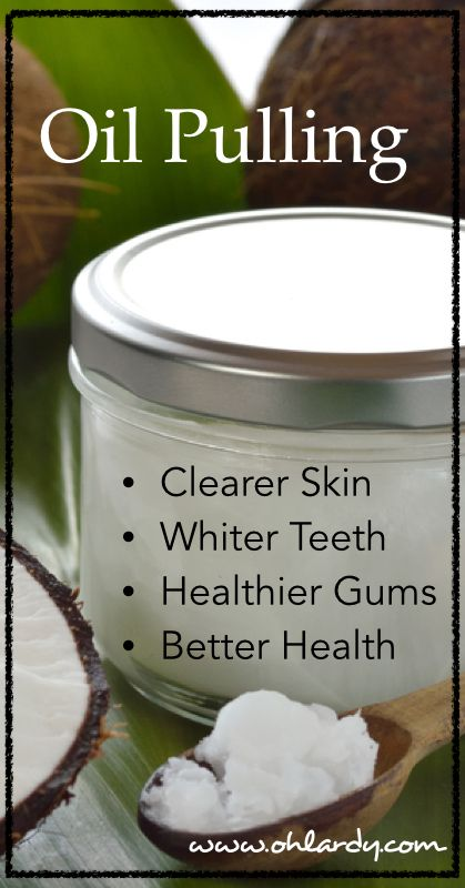 Oil pulls toxins, bacteria, viruses, fungi, yeast, plaque and more out of your mouth. ◾Take a spoonful of coconut oil in mouth first thing in the morning. ◾Swish forcefully for at least 5 minutes (ideally up to 20 ).  Do this while you are showering, getting dressed, etc.   ◾Spit out the oil into the garbage (Do not swallow and don't spit in sink, it may clog your pipes!). ◾Rinse with warm water.