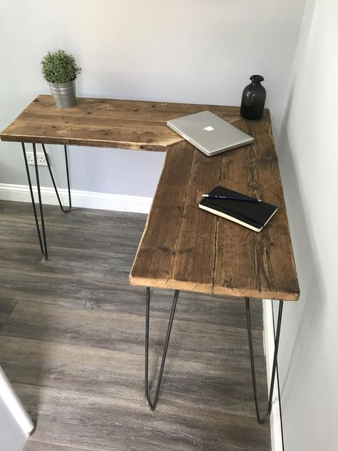 Excited to share this item from my shop: Modern Rustic Industrial Reclaimed Scaffold Wood Corner Desk With Hairpin Legs caps design ideas VICTORIA- Modern Rustic Industrial Reclaimed Scaffold Board Corner Desk With Hairpin Legs Wood Corner Desk, Corner Office Desk, Modern Corner Desk, Small Corner Desk, Modern Wood Desk, Black Corner Desk, Wood And Metal Desk, Rustic Birthday, Birthday Diy