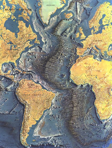 Atlantic Ocean Floor Map. Groundbreaking map of the ocean floor created by technician Marie Tharp and Professor Bruce Heezen, image via The Earth Institute, Columbia University. Together, Marie and Bruce rewrote 20th century geophysics by creating the first systematic, comprehensive map of the entire ocean floor.  This paved the way for general acceptance of the theories of continental drift and plate tectonics.