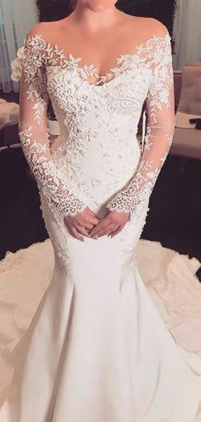 Off Shoulder Lace Long Sleeve Mermaid Wedding Dresses Ab1519 Long Sleeve Mermaid Wedding Dress Long Sleeve Wedding Dress Lace Mermaid Tight Wedding Dress