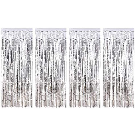 Pack of 10 Silver Shimmer Foil Door Curtain decorations Christmas Curtains Party