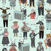 Colorful fabrics digitally printed by Spoonflower – Musical Animal Alphabet – Blue
