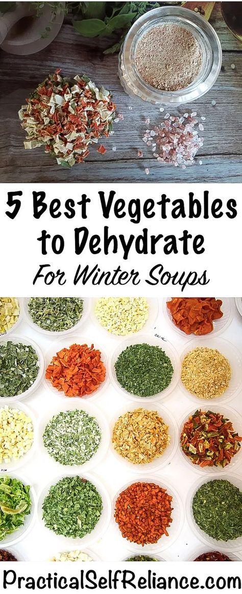 Best Vegetables To Dehydrate For Winter Soups Practical - Dehydrating Is One Of The Best Ways To Preserve Food For The Long Term It Requires Less Energy Than Canning Or Freezing And If Stored Properly Dehydrated Foods Will Last For Many Years Since The V Canning Food Preservation, Preserving Food, Konservierung Von Lebensmitteln, Comida Diy, Dehydrated Vegetables, Dehydrated Food Recipes, Dried Vegetables, Canned Food Storage, Fast Food