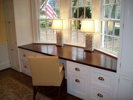 17 Stunning Bay Windows Ideas For Your Sweety Home Home Built In Desk Bay Window Seat