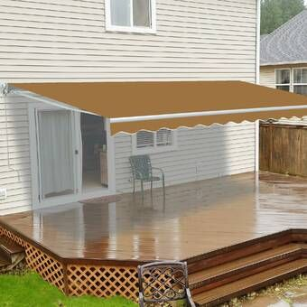 10 Ft W X 8 Ft D Fabric Retractable Standard Patio Awning In 2020 Patio Awning Carport Patio Pergola With Roof