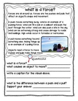 Force And Motion Reading Comprehension Passages With Questions