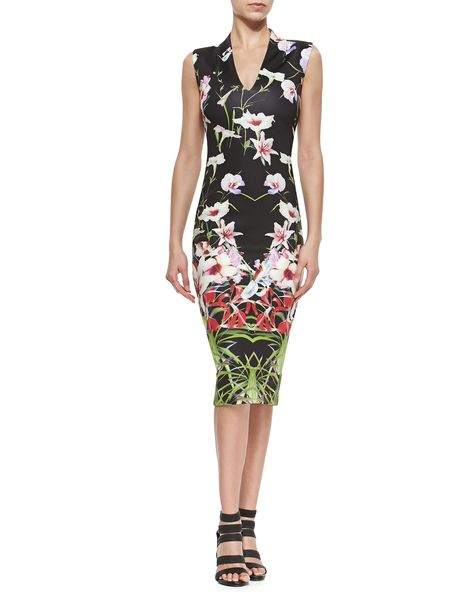 99c9e1971 Mirrored Tropics V-Neck Midi Dress