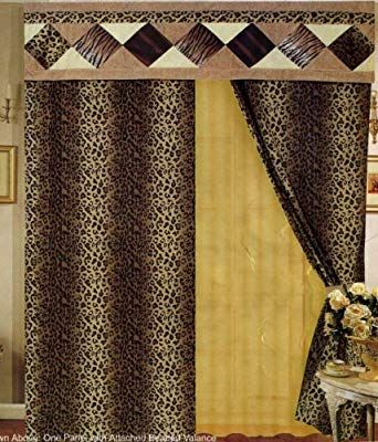Leopard Print Patchwork Curtains Drapes With Attach Valance Sheers Set How To Make Curtains Patchwork Curtains Drapes Curtains