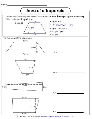 Area Of Trapezoid Worksheet Matematik Ilkogretim