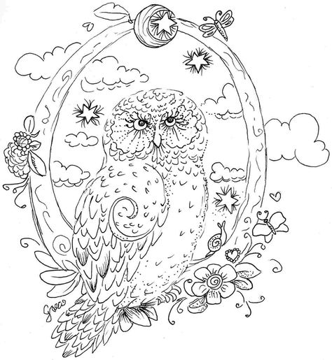 Gönnt euch eine Runde Ausmalen zur Entspannung! Adult coloring - copy baby owl coloring pages for adults