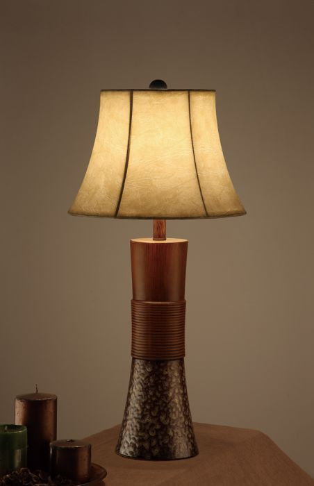 Bell Shade Table Lamp W Tall Base Stand Brown Set Of 2 Homeroots 315347 Lamp Table Lamp Rectangular Table Lamp