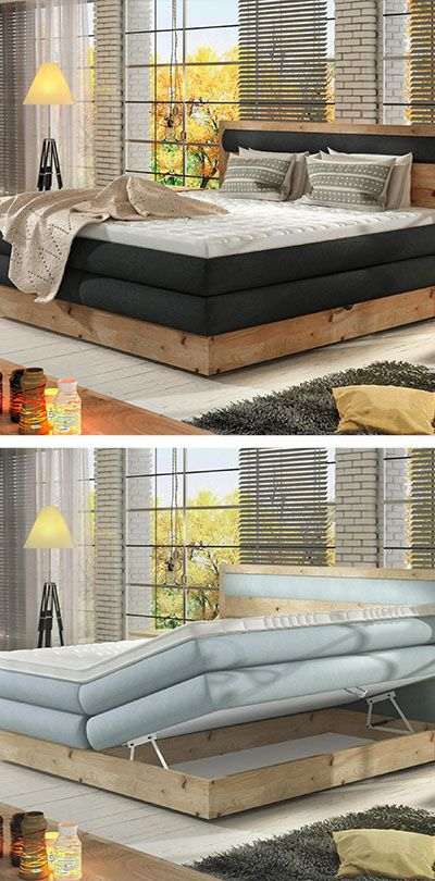 Boxspringbett 180 200 Cm In Anthrazit Eichefarben Boxspringbett Outdoor Dekorationen Und Aussenmobel