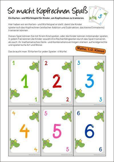 Mathe 1 2 Klasse Math Kartenspiel Ein Karte Ein
