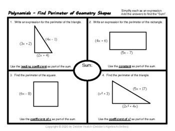 Find Polynomials Perimeter Volume Of Geometry Shapes Distance Learning Distance Learning Polynomials Geometry Shape