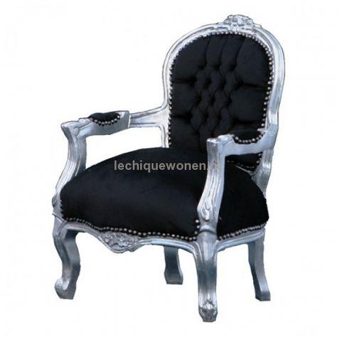 Barok Stoelen Zilver Zwart.Barok Kinderstoeltje Glamour Zilver Zwart Strass Le Chique Wonen