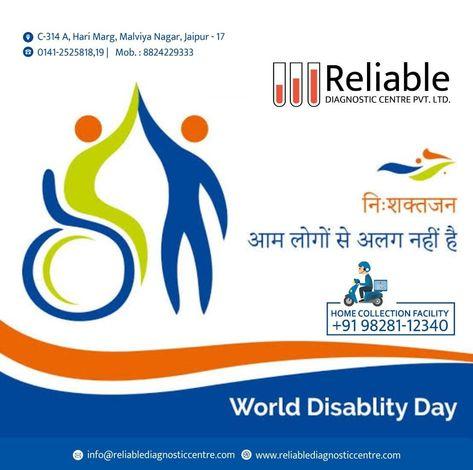 विश्व दिव्यांग दिवस... इस दिवस का उद्देश्य विकलांग व्यक्तियों को सहयोग देने के लिए जनसामान्य को प्रोत्साहित करना है, इसका प्रयोजन उनके आसपास के वातावरण को सक्षम बनाना है... #WorldDisabilityDay #health #medicalcare #allergist #MedicalCondition #Fitness #VitaminB12 #healthcarecenter #lab #diagnostic #diagnosticlab #stayfitjaipur #healthtalks #diagnosis #jaipur #jaipurpeople #pathology #reliable #doctor #hospital #cardio #camp