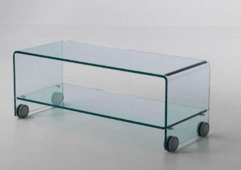 Tavolino Porta Tv Con Ruote.Tavolino Porta Tv Vetro Curvato Tube Wheels Vetro Curvato 10mm