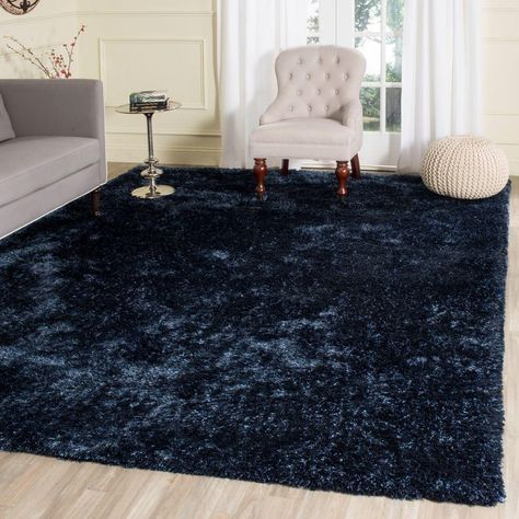 Toronto Shag Navy Blue 8 Ft X 10 Ft Area Rug Blue Rugs Living Room Blue Rug Bedroom Rugs In Living Room